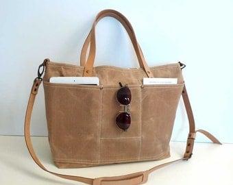 Free Express Shipping TAN Waxed Canvas Shoulder bag / Tote Bag / Diaper Bag