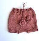 Diaper cover - pink - Wool - Alpaca - handknit