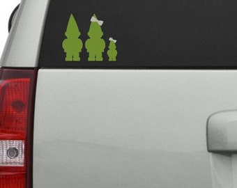Gnome Family Car Decal up to 7 family members