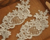 4 Pieces Bridal Alencon Lace Applique in Ivory for Wedding Gown, Bridal Veils, Garters, Christening2