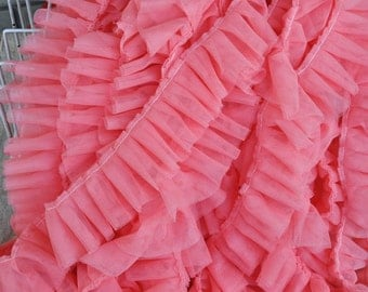 Hot Pink  Pleated Lace Trim, Ruffle Trim Lace, 5 yards