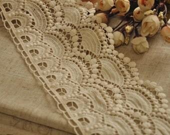 vintage style cotton lace trim, beige embroidered lace trim