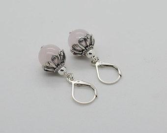 Genuine Rose Quartz Lever Back Earrings 17