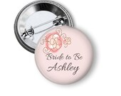 Bachelorette hen's party custom made pinback button badges - Pink Floral - 5 or 10 button pack