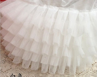 off white ruffled trim, chiffon ruffles trim, tutu mesh trim, doll dress trim