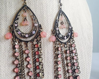 Pale Pink Chandelier Earrings