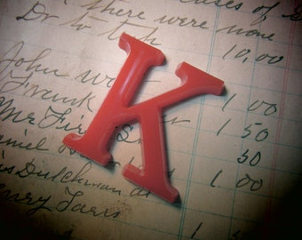 Letter Sign Vintage SMALL 1 1/2 Inch Letter K Sign RED Plastic Display Alphabet vtg Craft Crafting Supply Supplies Wall Art Pop Art Retro