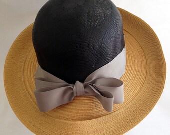 Vintage 1960s Women's Vintage Wide Brim Straw Hat by Frank Olive