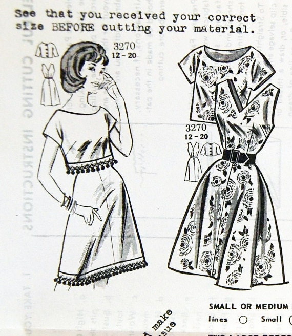 """Vintage 1962 Misses' Mail Order Dress with Over Blouse Pattern 3270 Size 16 (36"""" Bust)"""