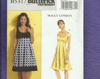 Butterick 5317 Maggy London Scoop Neck Dresses with Empire Waist & Fitted Midriff Size 16 to 22 UNCUT