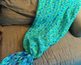Adult or Child Mermaid Tail Crocheted Blanket - Custom Colors