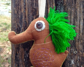 Brown Seahorse Keychain Handmade