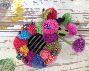 Pom Pom Colorful Hairclip Handmade
