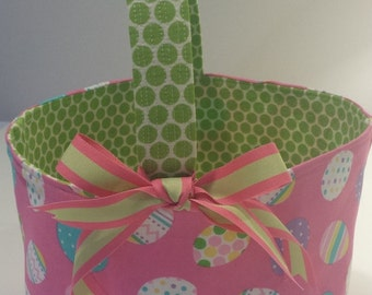 Fabric Easter Basket Candy Bucket Bin Storage Container - Pink Egg with Green Dot