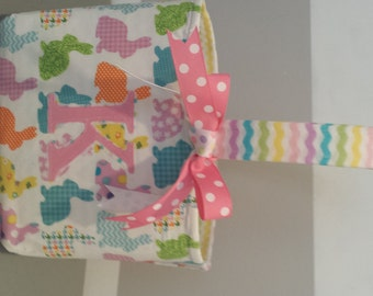 Monogrammed Fabric Easter Basket Candy Bucket Bin Storage Container - Multi Colored Bunny with Chevron