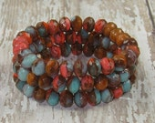 Coral Blue 6x8mm Czech Glass Bead Rondelle Faceted Brown Orange PAINTED DESERT (10)