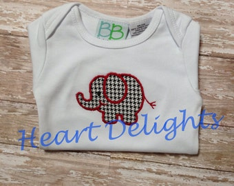 Appliqued  Infant Baby Boy Baby Girl Newborn Gown Applique Embroidery  Elephant