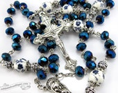Dark Blue Crystal Rosary, blue rosary, first communion gift, confirmation rosary, rosary necklace, catholic rosary, ladies rosary for boys