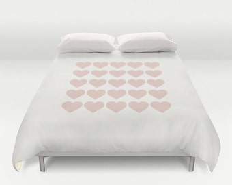 2 colour options, Dusky pink hearts Duvet Cover, pink hearts queen size duvet cover, king duvet cover, wedding hearts, cream OR grey base