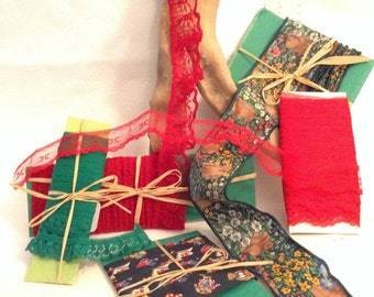 Lace by the yard - lace trim - mixed lot - vintage supplies - Christmas crafts - DIY project supplies - doll clothes - scrapbooking