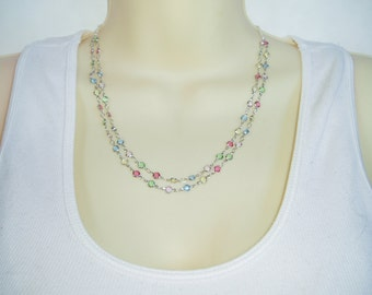 Delicate Colorful Beaded Necklace -  Feminine and Ultra Pretty Pink, Green, Yellow, Blue Double Strand Silver Chain Necklace