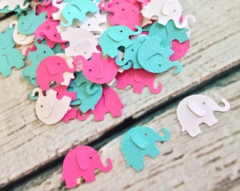 Elephant Baby Shower Confetti, Elephant Girl Baby Shower, Pink and Aqua First Birthday, Elephant Confetti, Elephant Table Scatter