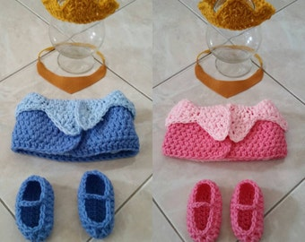 Crochet Sleeping Beauty Aurora Outfit (crown, necklace, diaper cover, booties)