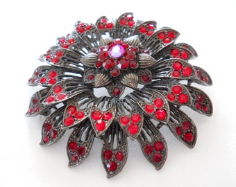 Red Rhinestone Flower Brooch Pin, Japanned Gunmetal, Vintage