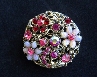 Round Brooch With Pink and Red Rhinestones and Faux Opal Flowers Vintage