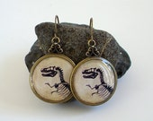 Dinosaur Earrings - T Rex - Tyrannosaur Dangle Earrings in Brass