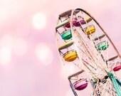 Ferris Wheel Carnival Pastel Pink Nursery Art Decor Pink Bokeh Carnival Ride Pastel Pink Whimsical Soft Dreamy,  Fine Art Print