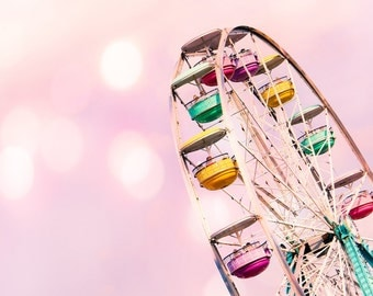 Ferris Wheel Carnival Pastel Pink Nursery Art Decor Pink Bokeh Carnival Ride Pastel Pink Whimsical Soft Dreamy,  Fine Art Print