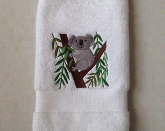 Koala and Eucalyptus machine embroidery on white hand towel