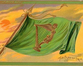 Vintage St Patricks Day Postcard, Emerald Isle Series, Flag of Erin, Tuck Postcard