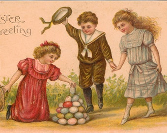 Vintage Easter Postcard, Girl Stacking Easter Eggs while Others Watch, ca 1910