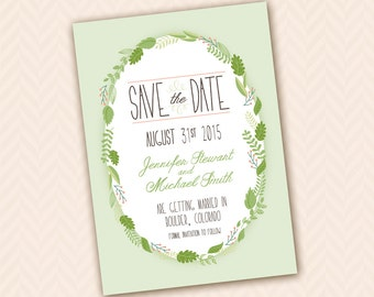 Succulent Wreath Rustic Save the Date Design (good for card, postcard or magnet)