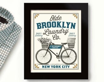 Brooklyn New York City Art Laundry Sign Old Laundry Room Decor Vintage  Bicycle Art Linens andBathroom artwork   Etsy. Bathroom Artwork. Home Design Ideas