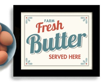 Fresh Butter Kitchen Art Print Dairy Farmhouse Chic Country Design Good Morning Barnyard Animals Butter and Eggs