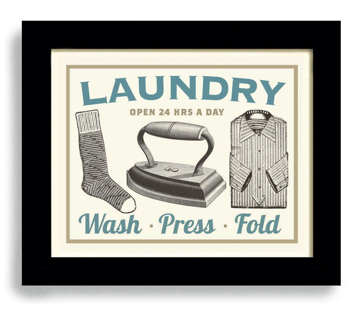 Clothes Wash Signs: Laundry Room Decor Wall Art Print Dirty Clothes Old Iron Wash