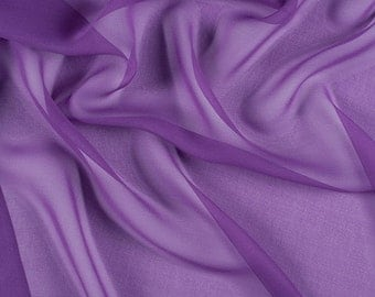 "54"" Wide 100% Silk Chiffon Violet By the Yard"
