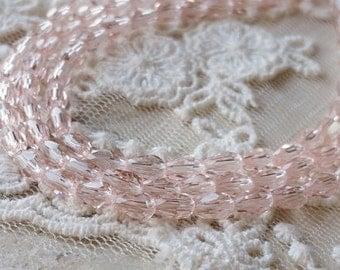 3 x 5 mm 48 Faceted Cut Tear Drop Shape  Pink Colour Glass / Crystal / Lampwork Beads (.mnc)