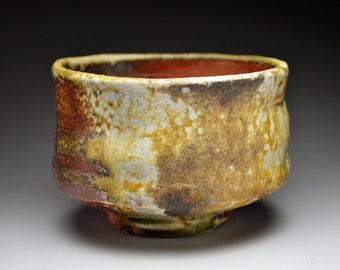 Shigaraki, anagama, ten-day anagama wood firing, with natural ash deposits tea bowl. chawan-76