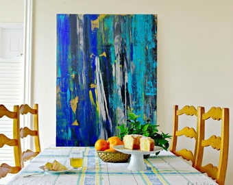 Large Abstract Painting, Cobalt blue Painting, Blue Abstract, Contemporary Art on Canvas MADE TO ORDER