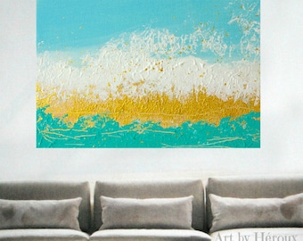 Original Abstract painting, Large wall art, Large painting, Blue and Gold art on canvas, Turquoise Decor, CUSTOM MADE to order by Heroux