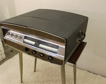 Mid Century Modern, danish, retro, walnut and brass Phonola Record player and cabinet