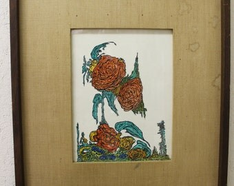 Mid Century Modern 1960's painting on board signed