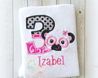 Panda birthday shirt - panda bear shirt - girls birthday shirt - 1st birthday shirt - first birthday - embroidery - personalized shirt
