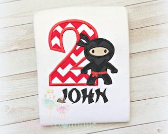 Birthday Ninja Applique Shirt- Black and Red- Karate-Birthday Boy