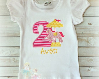 Carousel horse birthday shirt - 1st birthday carousel shirt - pink carousel shirt - carnival themed birthday shirt - personalized shirt