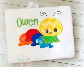 Rainbow caterpiller shirt - boy or girl caterpillar shirt - custom embroidered and personalized rainbow caterpillar shirt - rainbow bug
